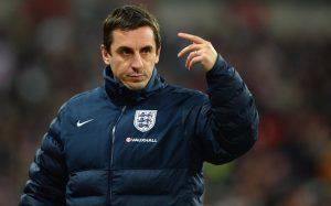 LONDON, ENGLAND - NOVEMBER 15:  England coach Gary Neville gives instructions during the international friendly match between England and Chile at Wembley Stadium on November 15, 2013 in London, England.  (Photo by Michael Regan - The FA/The FA via Getty Images)