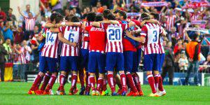 MADRID, SPAIN - APRIL 9: Players of Atletico Madrid celebrate their victory after the UEFA Champions League quarter-final second leg soccer match between Atletico Madrid and Barcelona at Vicente Calderon Stadium in Madrid, Spain on April 9, 2014. (Photo by Senhan Bolelli/Anadolu Agency/Getty Images)