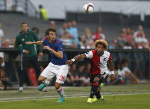Football Soccer - Feyenoord v Manchester United - UEFA Europa League Group Stage - Group A - De Kuip Stadium, Rotterdam, Netherlands - 15/9/16 Manchester United's Matteo Darmian in action with Feyenoord's Tonny Vilhena Action Images via Reuters / Matthew Childs Livepic EDITORIAL USE ONLY.